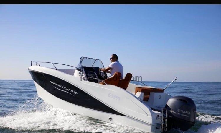17' Deck Boat Rental in Trogir, Croatia for up to 7 friends