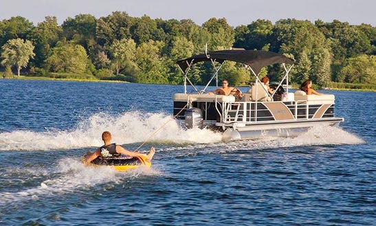 25' Party Barge Tritoon Rental In Sister Bay, Wisconsin