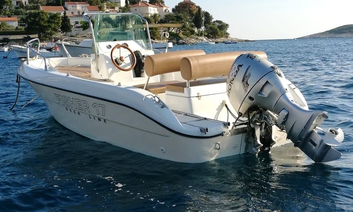 Rent the 17' Fisher Deck Line Boat in Hvar, Croatia