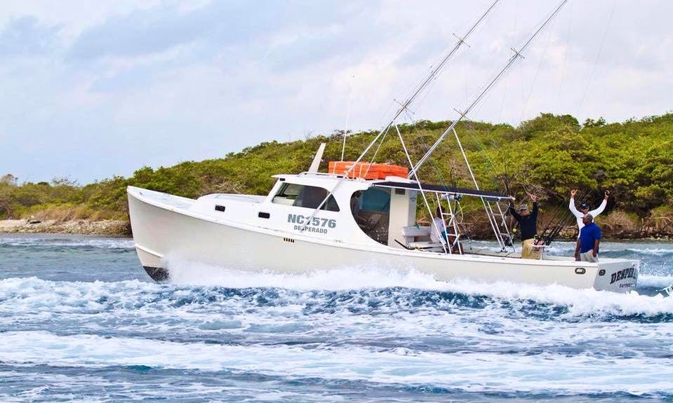 Fishing in Willemstad, Curacao on 42' Cuddy Cabin Boat