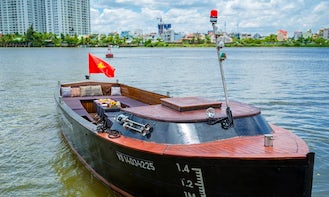 Beautiful wooden open boat for rent in Saigon