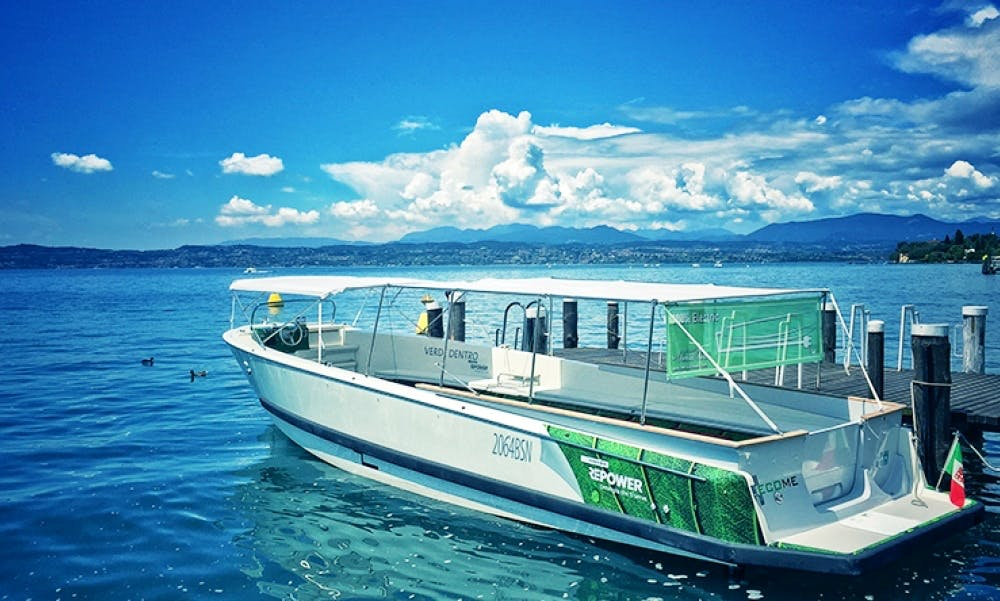"Charter the 34ft ""Become"" Electric Taxi Boat in Sirmione, Italy"
