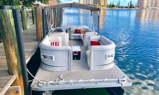 24' Luxury Party Pontoon Boat Rental In North Miami Beach, Florida