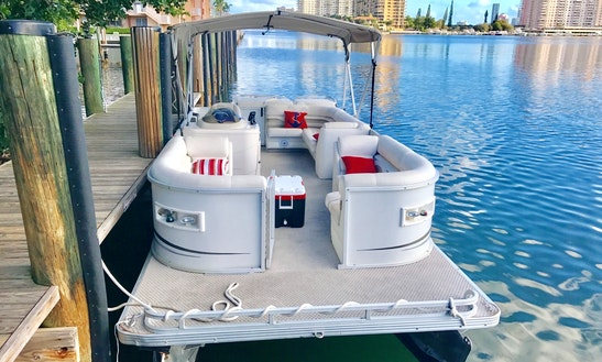 24' Luxury Party Pontoon Boat Rental In North Miami Beach, Florida
