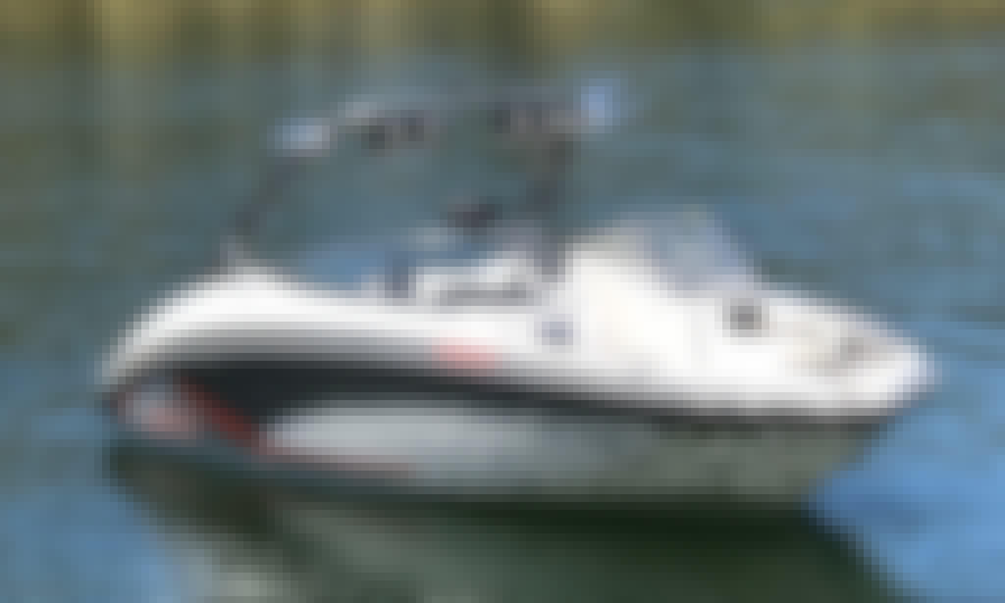 24' Yamaha Ski Boat Rental In Lake Tahoe w Bimini Top
