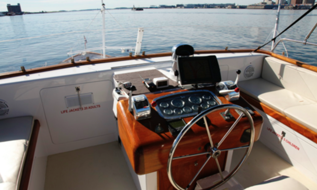 64 39 classic berger motor yacht boston up to 45 guests for Motor boat rental boston