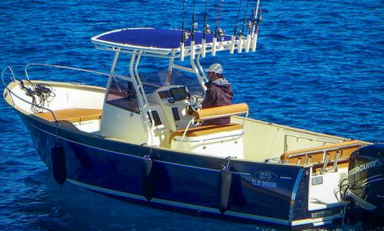 Enjoy Fishing In Fréjus, France On 25' Rhea Open 27 Cuddy Cabin