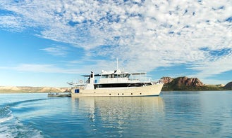 Motor yacht available for exclusive charters of the Kimberley, Abrolhos Islands or Perth, Western Australia.