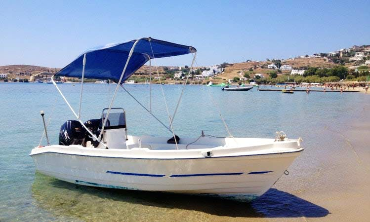 Ride in this 14' center console rental in Paros, Greece