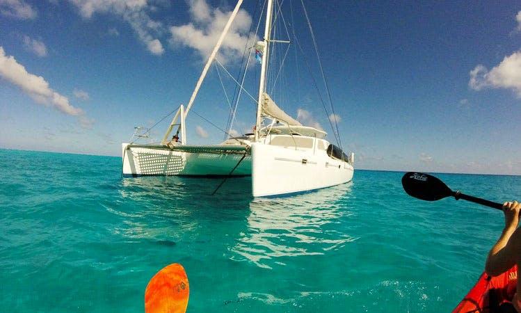"Sailing Catamaran ""Quixotic"" in Savusavu, Fiji with Captain Lewis and Chef Alyssa"