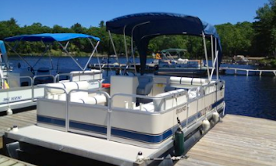 22' Crest Green Pontoon Boat Rental On Kennebec Lake, Arden, Ontario