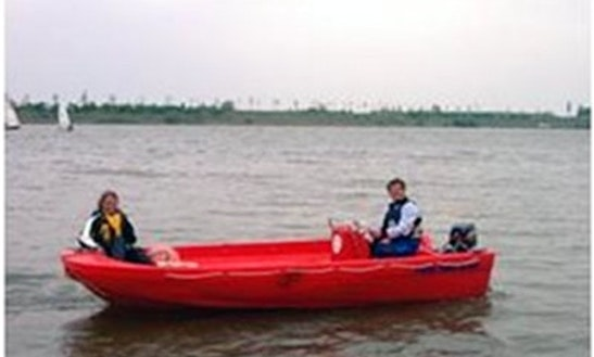 Rent The 16ft Yak 8 Red Motor Boat In Kinrooi, Belgium