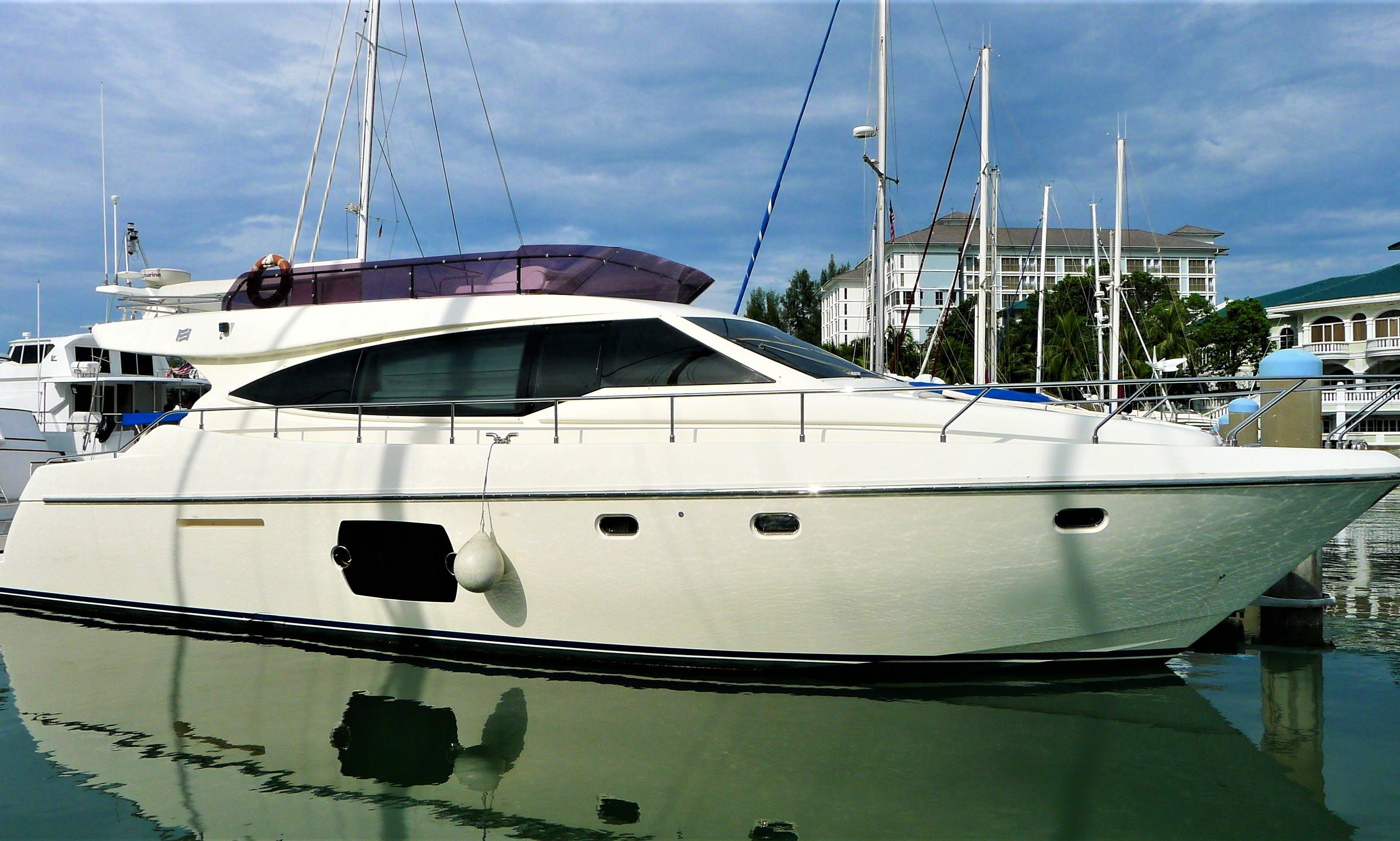 Charter a 51' Ferretti Power Mega Yacht in Port Dickson, Malayasia
