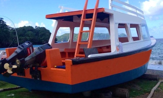 Charter A 35 Person Glass Bottom Boat In Scarborough, Trinidad And Tobago