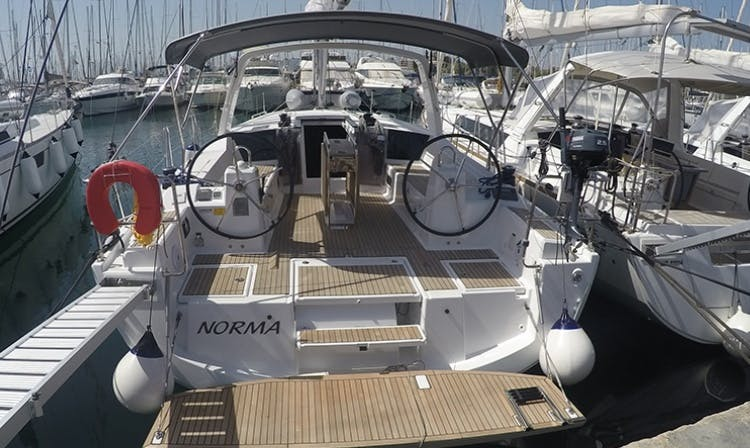 8 Person sailing charter on an Oceanis sailboat in Glifada, Greece