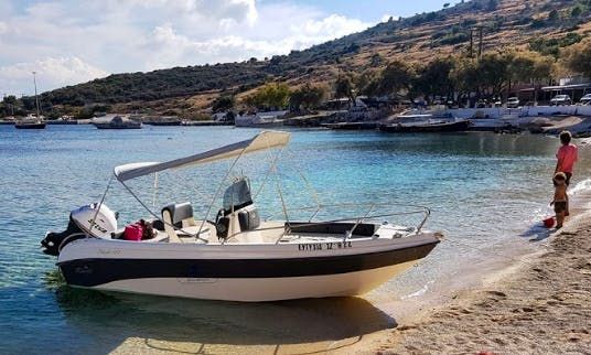 """Al Mar Speedboats offers brand new motorboats... for either private hire or organised trips.. get in touch with us and we will work out the best deals for you!!! """"Eftixia"""" boat under your commend"""