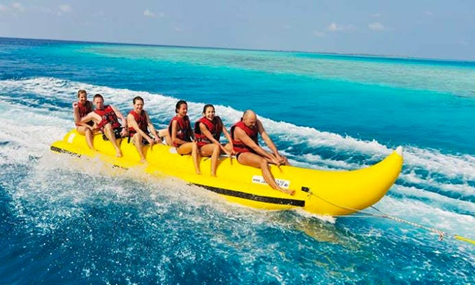 Have fun on Banana ride in Zakinthos, Greece
