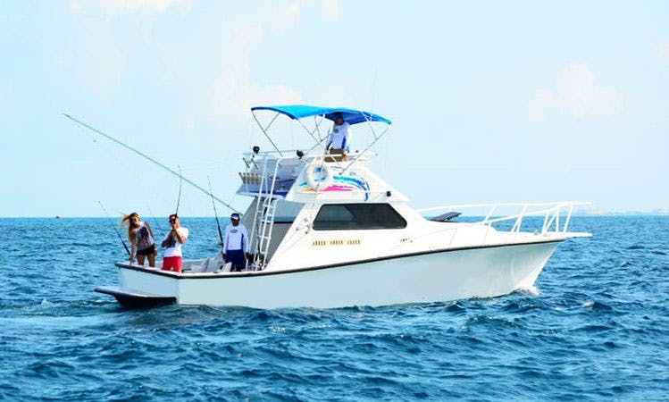 34' Boat Light Tackle Fishing  Private Charter in Cancún