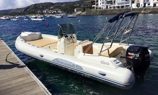 Rent 24' Tempest Hair 700 Rigid Inflatable Boat In Cadaqués, Spain