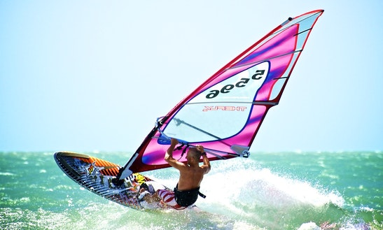 Enjoy Windsurfing In Kamari, Greece
