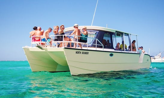 Charter 35' The North Sounder Power Catamaran In West Bay, Cayman Islands