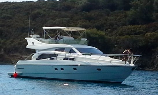 Charter A Ferretti 50ft Flybridge Motor Yacht For A Private Cruise From Porto Carras, Sithonia, Halkidiki, Greece