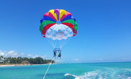 Parasailing Off Corales Beach In Punta Cana