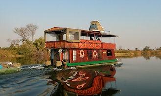 Charter 39' Kubu Queen Houseboat in North-West District, Botswana