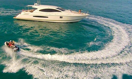 Charter 75' Lazzara Lsx And Jet Ski For Touring In Miami Shoreline