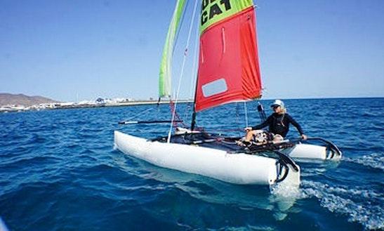 16' Catamaran Windsurfing In Playa Blanca, Spain