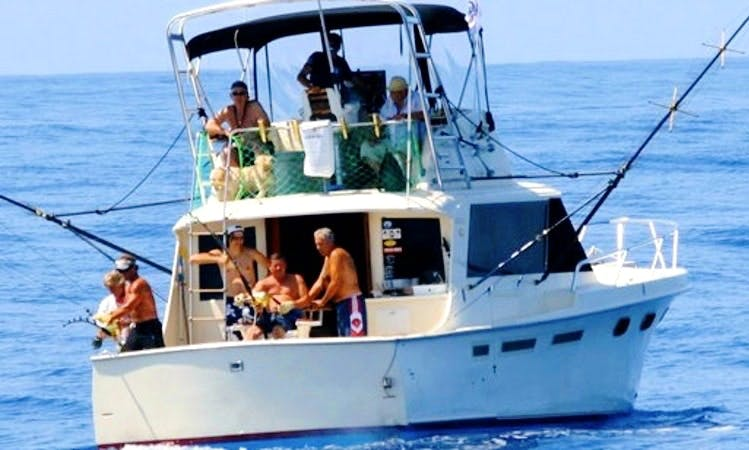 Hatteras 45ft Sport Fishing Boat in Calheta Marina Madeira Island.