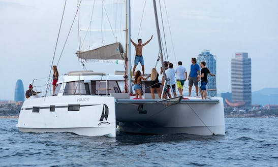 Exclusive Catamaran For 10-28 Person Available To Charter In Barcelona