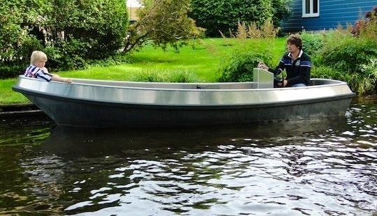 Rent 16' Green Silver Electric Boat In Sneek, Friesland