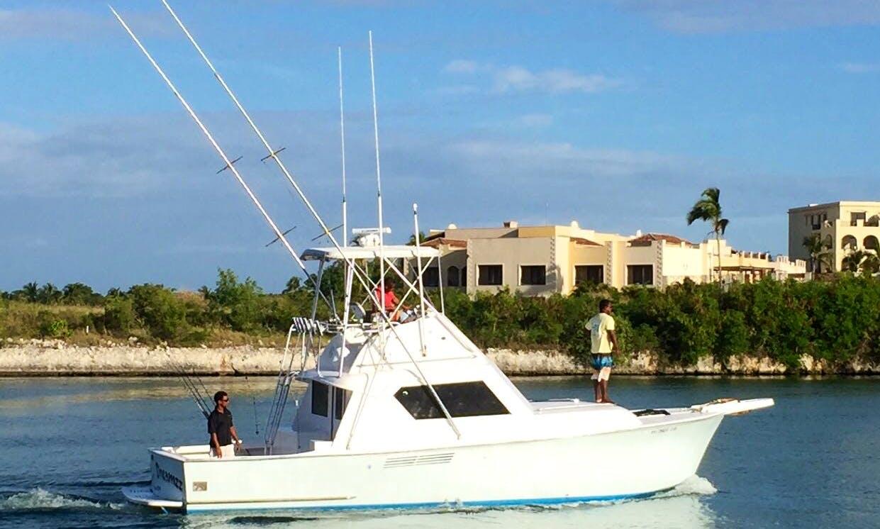 Professional Fishing in Punta Cana, Dominican Republic on 36' Hatteras Island Dreamzz Sport Fisherman