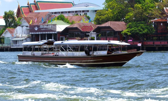 Smaller Sightseeing Boat Perfect For 16 People Cruises On Chao Phraya River In Bangkok, Thailand