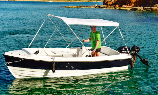 6 Person Boat Rental Center Console With Bimini Top In Lasithi, Greece