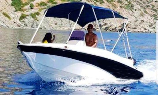 15' Deck Boat Rental In Pelagia, Greece