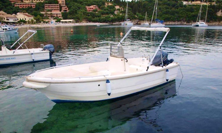15hp Center Console Boat Hire in Kerkira