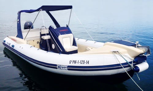 Rent 21' Pholas Rigid Inflatable Boat in Colònia de Sant Jordi, Spain
