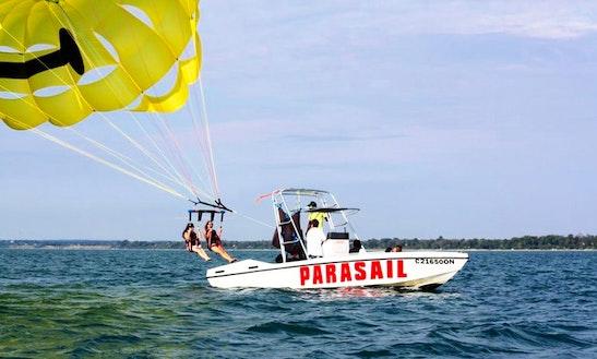 Parasailing In Lambton Shores, Canada