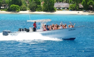 """Private Boat Tour On 34ft """"Aunty Jas"""" Calypso Power Boat in Barbados"""