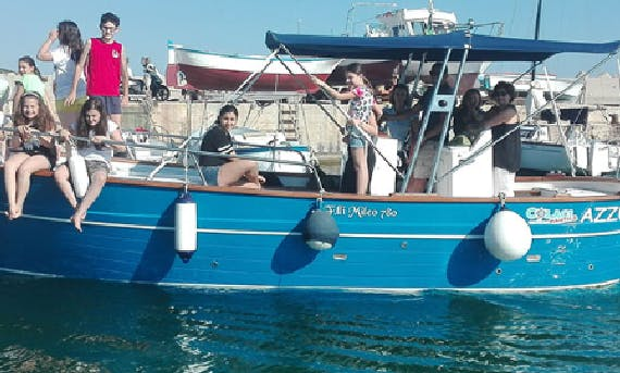 Cruise the water of Leuca, Italy in a shaded boat