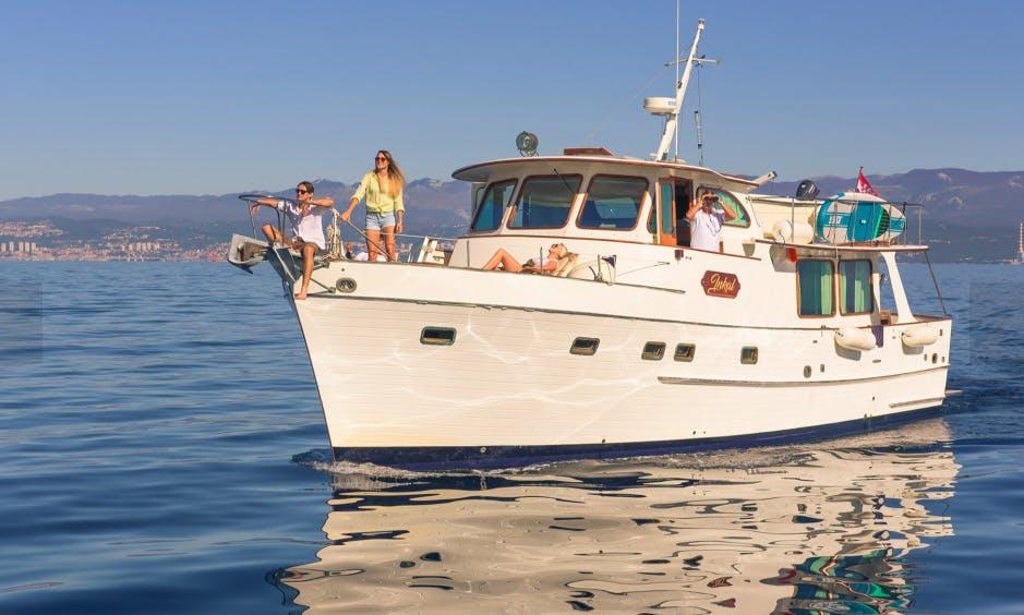 Charter 46ft Grand Banks Alaskan Yacht at island of Krk near Rijeka, Croatia