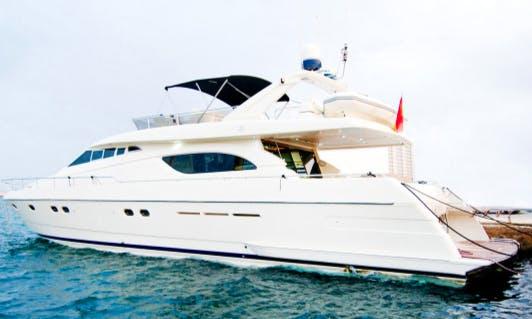 Charter 70' Ferretti Power Mega Yacht in Portals Nous, Spain