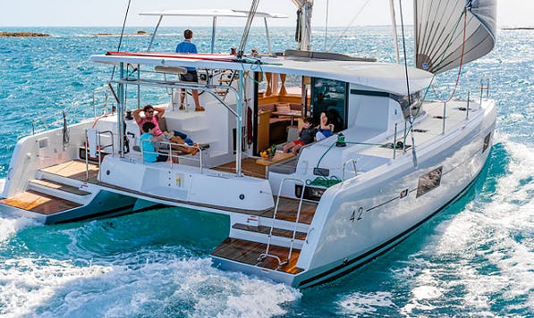 Charter 42' Lagoon Cruising Catamaran in Vathis, Greece