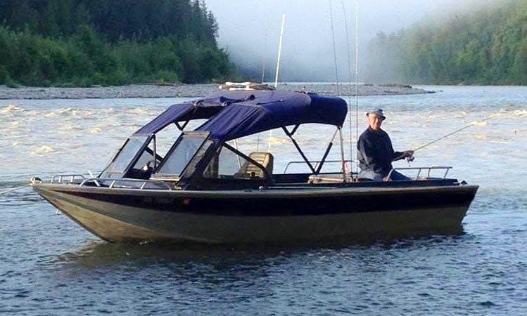 Guid Fishing On Cuddy Cabin In Talkeetna, Alaska