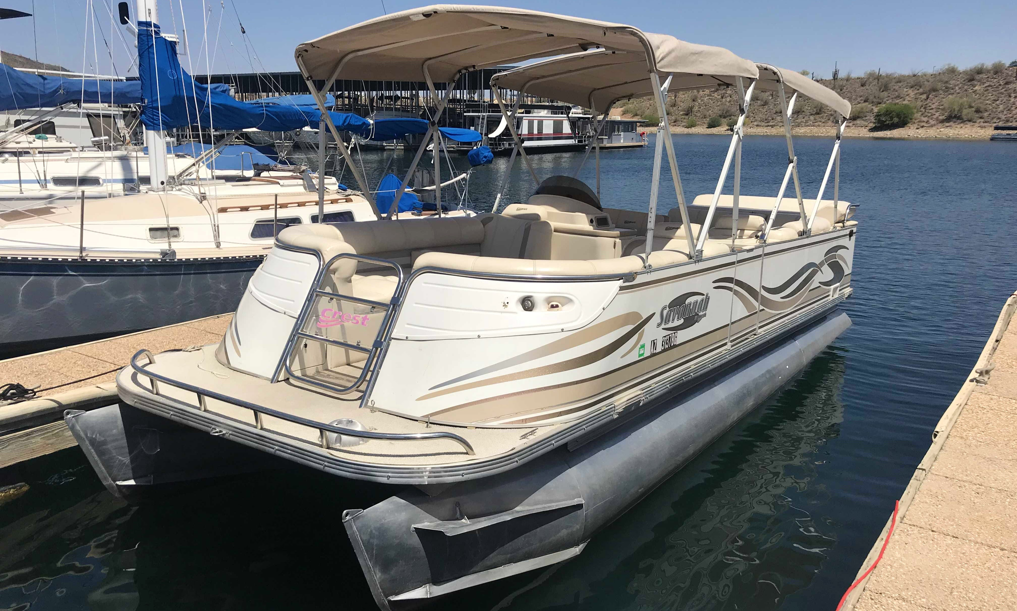 Spacious and fast 25' Crest Pontoon - Perfect combination