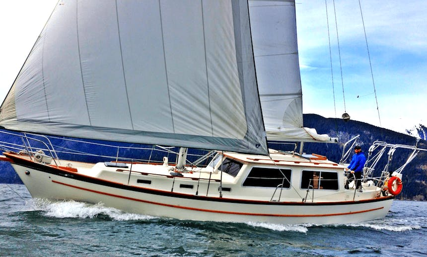 """Experience the Wildness of the Great Bear Rainforest from our Spacious Pilothouse Sailboat Classic 39ft Cooper """"Seawolf"""""""