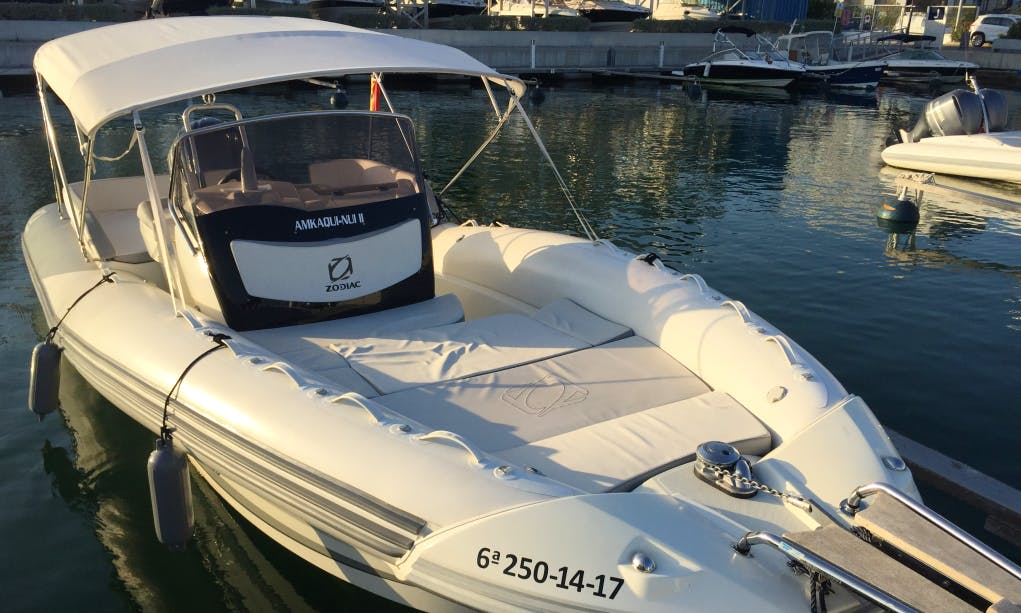 Enjoy With Your Friends on This 12 Persons Zodiac N-ZO 760 Rigid Inflatable Boat Charter in Eivissa, Spain