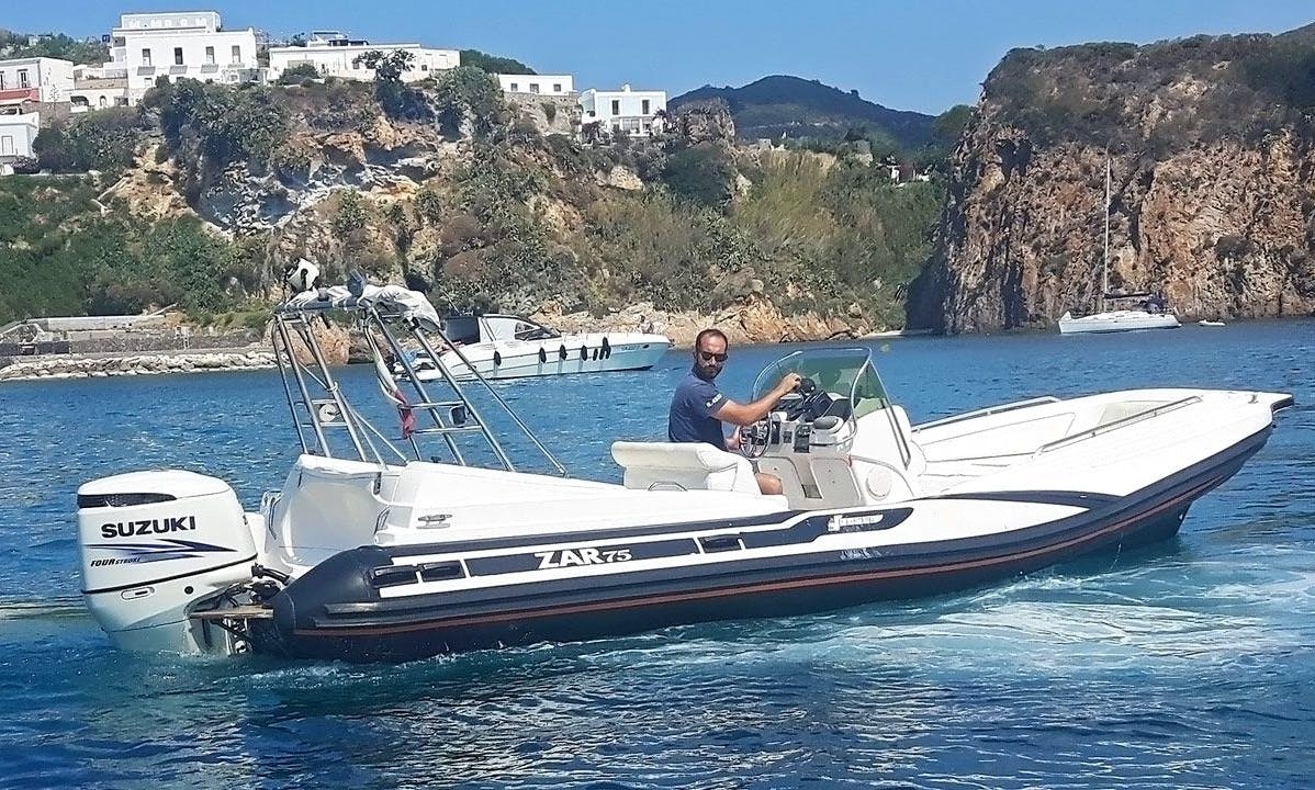 Discover Ponza Lazio, Italy on 25' Zar Wide RIB For 8 People